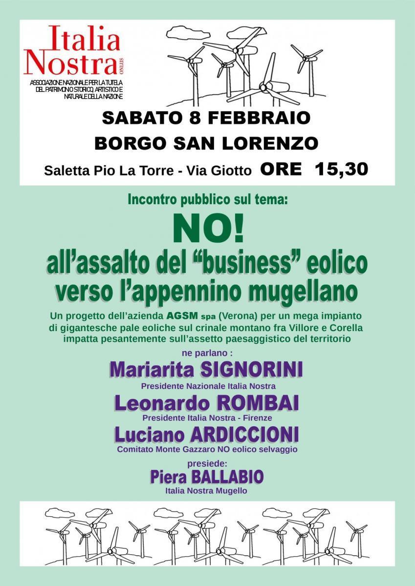 """Italia Nostra organizza un'assemblea pubblica: """"No all'assalto del business eolico"""""""