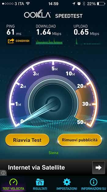 Monitoraggio velocità di connessione banda larga.