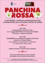25 novembre giornata internazionale contro la violenza sulle donne. Installazione Panchina Rossa.